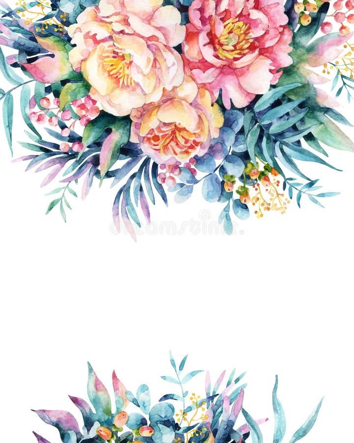 Waterverfbloemen, bladeren, bes, onkruidregeling stock illustratie