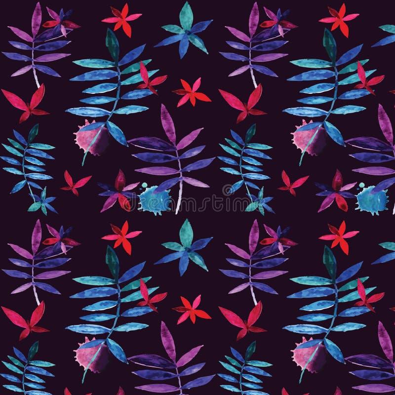 Waterverfbloemen en bladeren vector illustratie