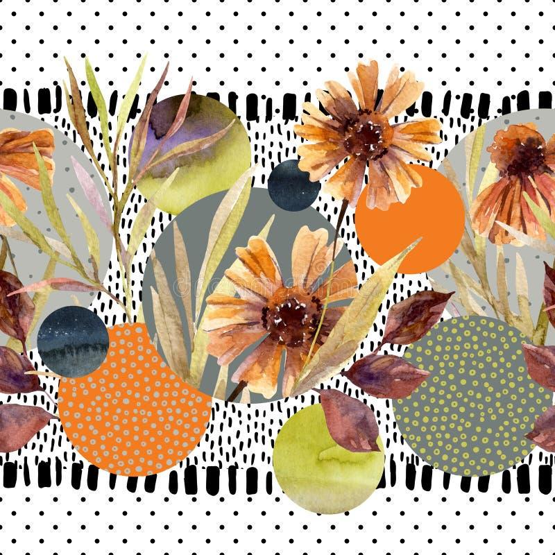 Waterverfbloemen en bladeren, cirkelvormen op de minimale achtergrond van krabbeltexturen royalty-vrije illustratie