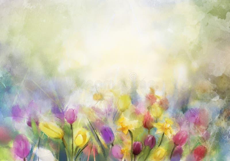 Waterverfbloemen het schilderen stock illustratie
