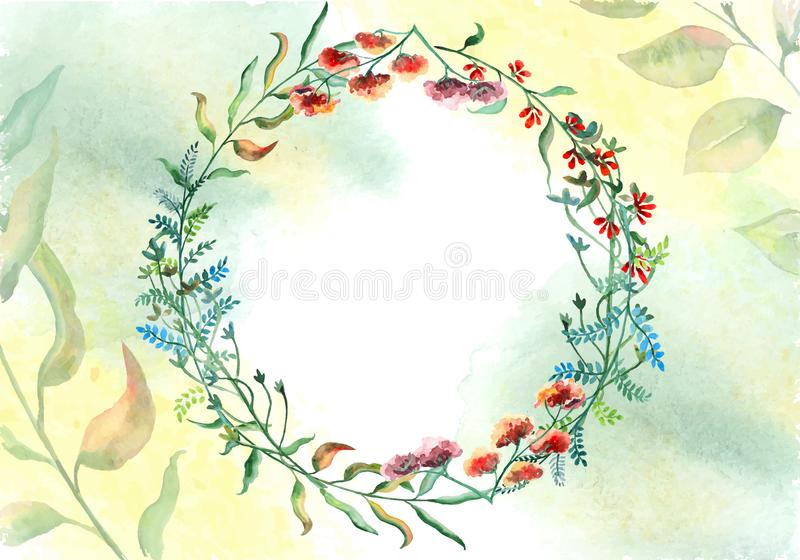 Waterverfbloemen op wit waterverfdocument royalty-vrije illustratie