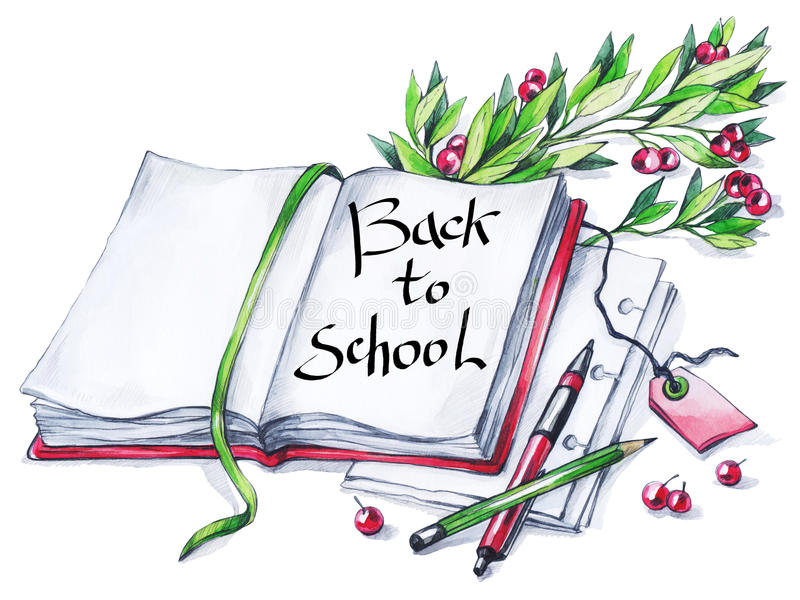 Waterverfboek, pen, potlood, bloemen en tekst Kalligrafiewoorden terug naar School Uitstekende onderwijsachtergrond Symbool van royalty-vrije illustratie