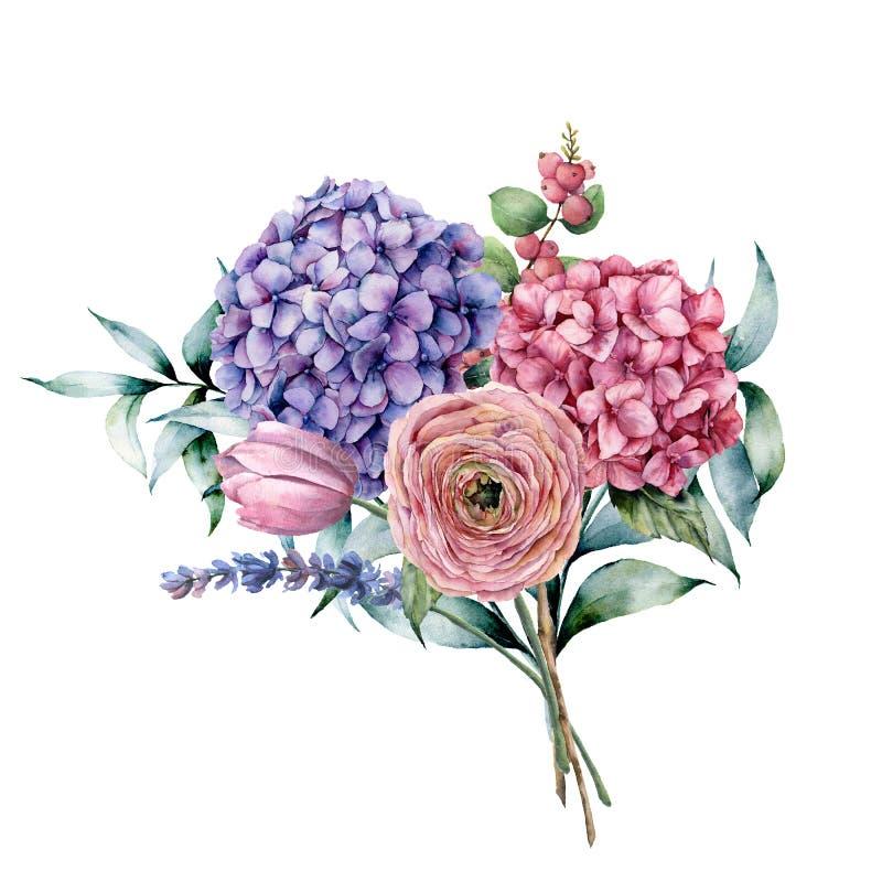 Waterverfboeket met bloemen en eucalyptus De hand schilderde roze en violette hydrangea hortensia, tulp, lavendel, ranunculus ver vector illustratie