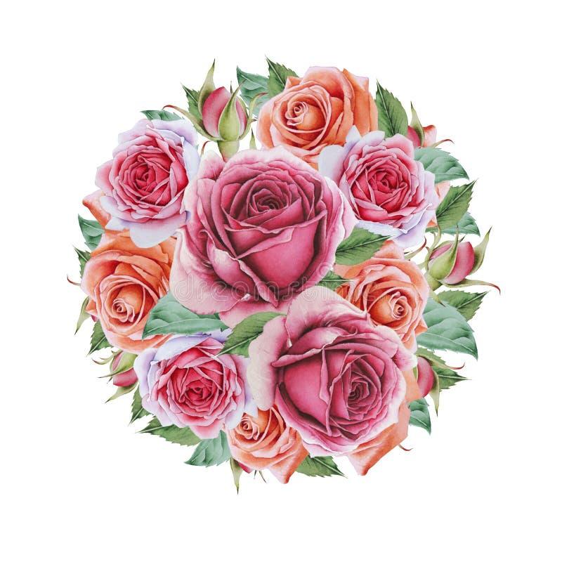 Waterverfboeket met bloemen Illustratie vector illustratie