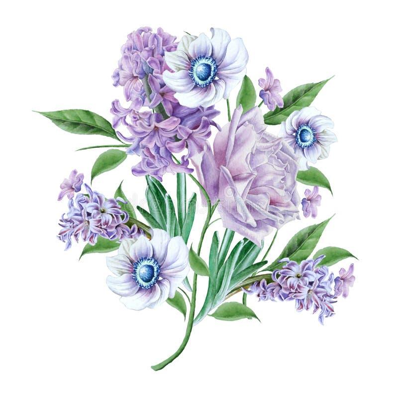 Waterverfboeket met bloemen Nam toe Hyacint Anemoon royalty-vrije illustratie