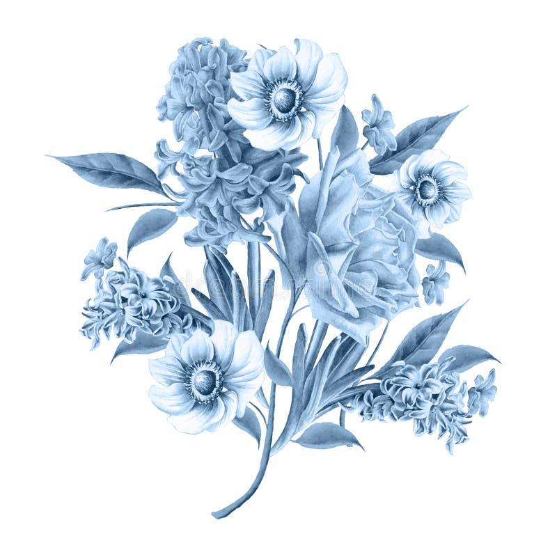Waterverfboeket met bloemen Nam toe Hyacint Anemoon vector illustratie