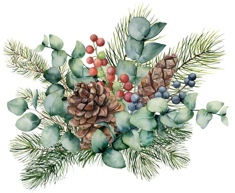 Waterverfboeket met eucalyptusbladeren, kegel, spartak en bessen De hand schilderde groene brunch, rode en blauwe bessen royalty-vrije illustratie