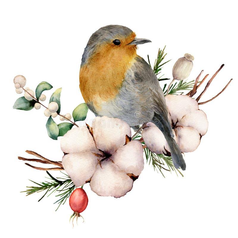 Waterverfboeket met Robin en katoen De hand schilderde bloemenillustratie met witte bloem, snowberries, bladeren en royalty-vrije illustratie