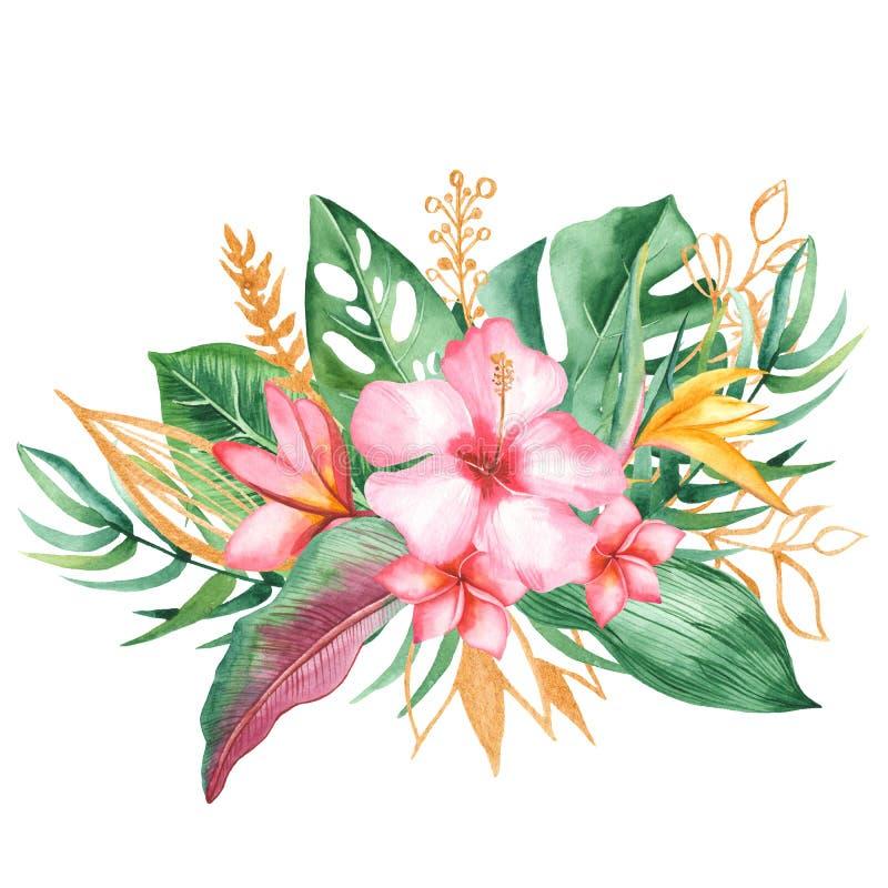 Waterverfboeket met tropische bladeren en bloemen, waterverfvlekken stock illustratie