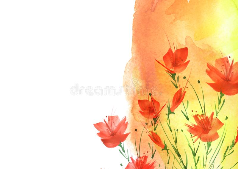 Waterverfboeket van bloemen, Bloemenachtergrond Helder rood bloemenboeket Mooie abstracte plons van verf royalty-vrije stock afbeeldingen