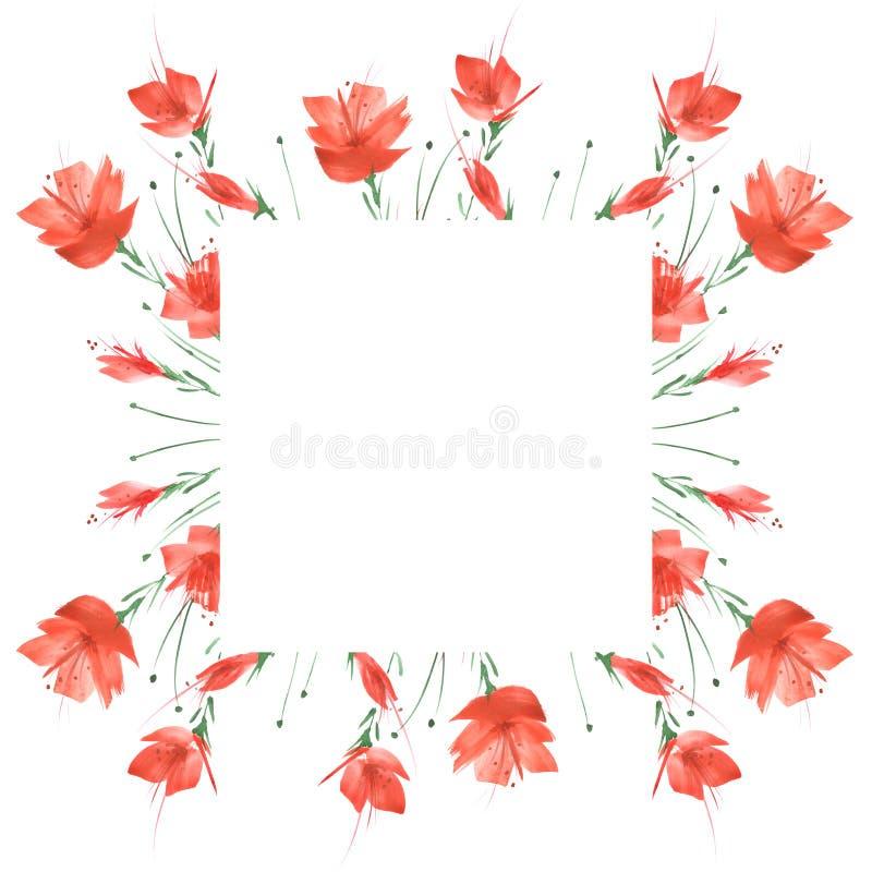 Waterverfboeket van bloemen, Bloemenachtergrond Helder rood bloemenboeket Mooie abstracte plons van verf stock afbeeldingen