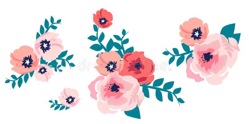 Waterverfboeket van bloemen De hand schilderde kleurrijke bloemen royalty-vrije illustratie