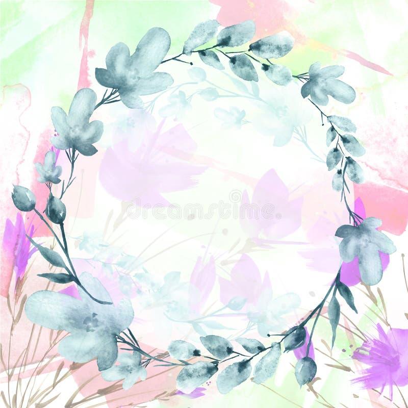 Waterverfboeket van bloemen stock illustratie