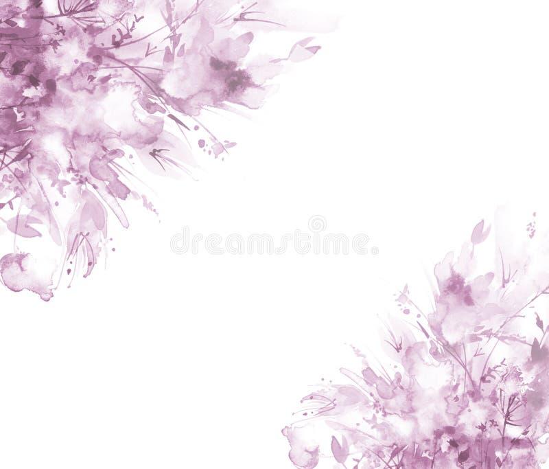 Waterverfboeket van bloemen, Mooie abstracte plons van verf, manierillustratie Orchideebloemen, papaver, korenbloem, roze sa stock illustratie