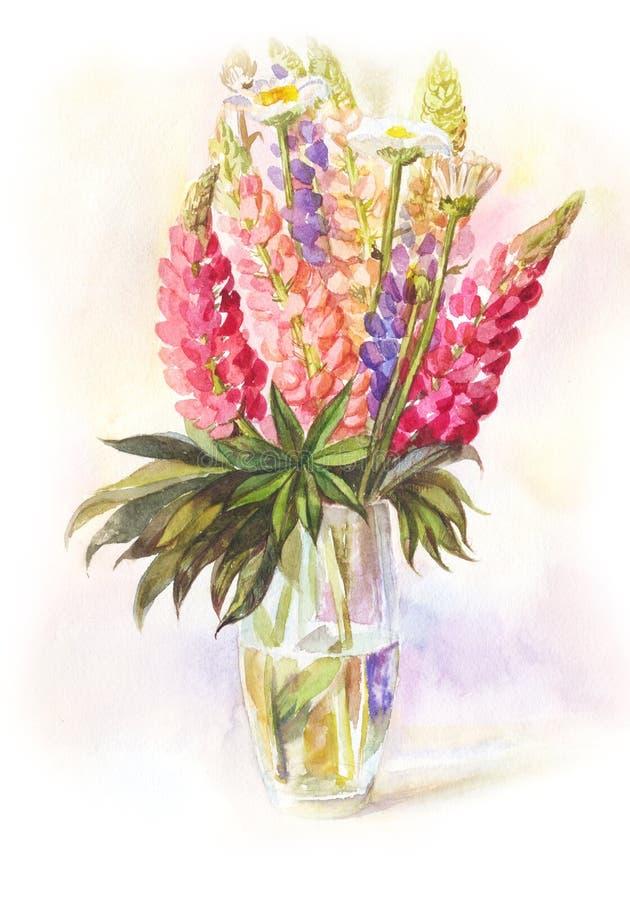 Waterverfboeket van lupines in een glasvaas royalty-vrije illustratie