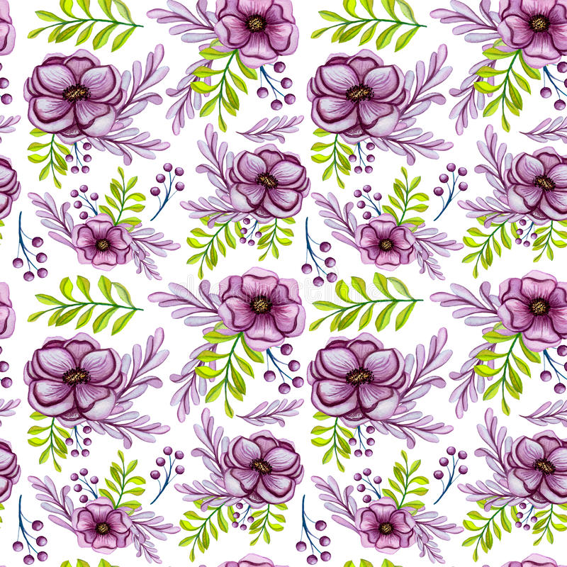 Waterverfboeketten met het Naadloze Patroon van Anemone Flowers And Green Leaves vector illustratie