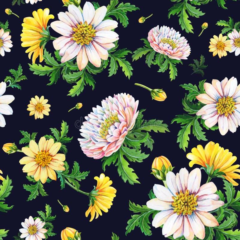 Waterverfchrysanten op een zwarte achtergrond Abstract naadloos patroon van gele bloemen stock illustratie