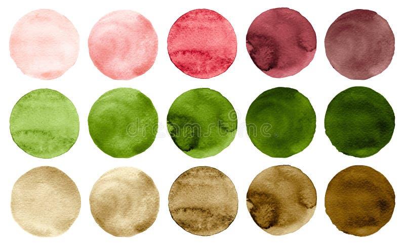 Waterverfcirkels in schaduwen van groene, roze, rode en bruine die kleuren op witte achtergrond worden geïsoleerd stock illustratie