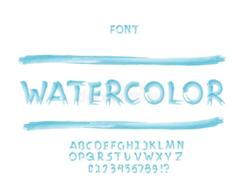 Waterverfdoopvont Vector alfabet vector illustratie