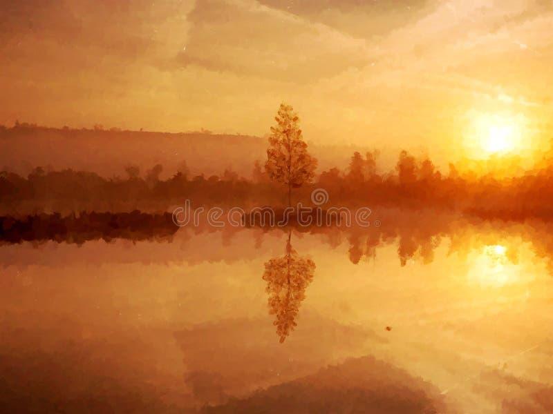 Waterverfeffect Jonge berkboom op eiland in midden van moerasmeer Purpere ochtend vector illustratie