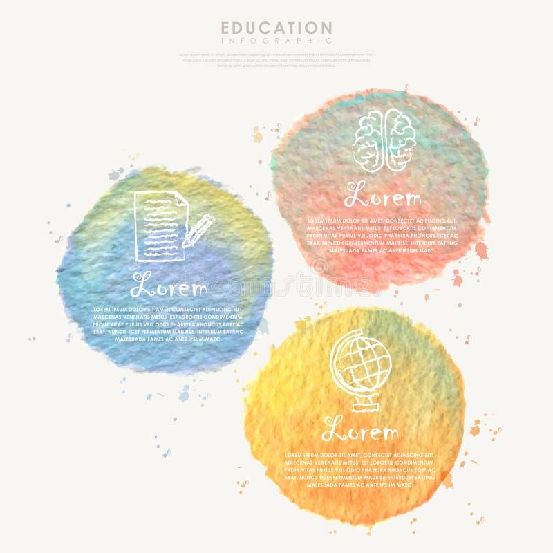 Waterverfelement voor infographic onderwijs royalty-vrije illustratie