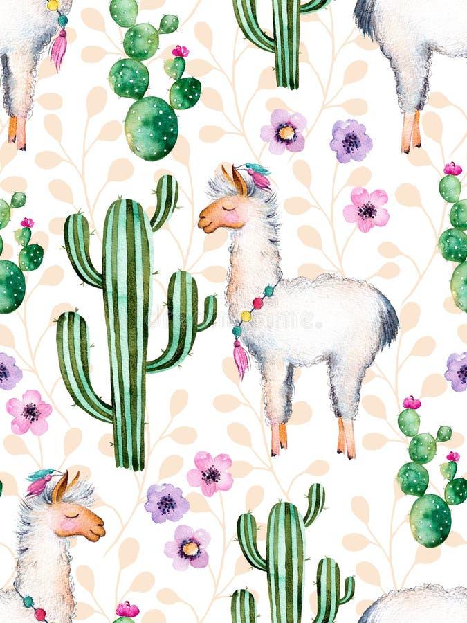 Waterverfelementen voor uw ontwerp met cactusinstallaties, bloemen en lama royalty-vrije illustratie