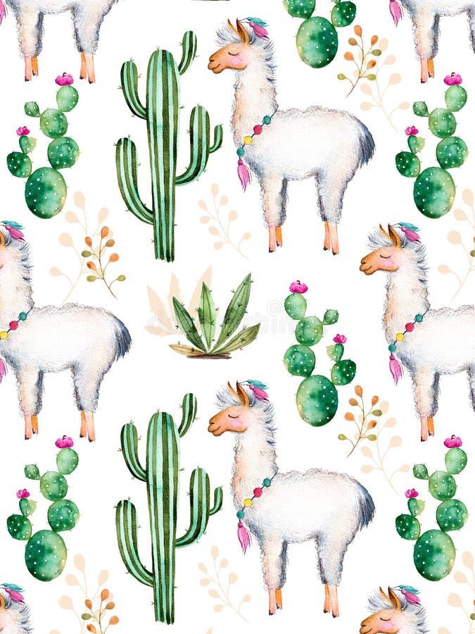Waterverfelementen voor uw ontwerp met cactusinstallaties, bloemen en lama vector illustratie
