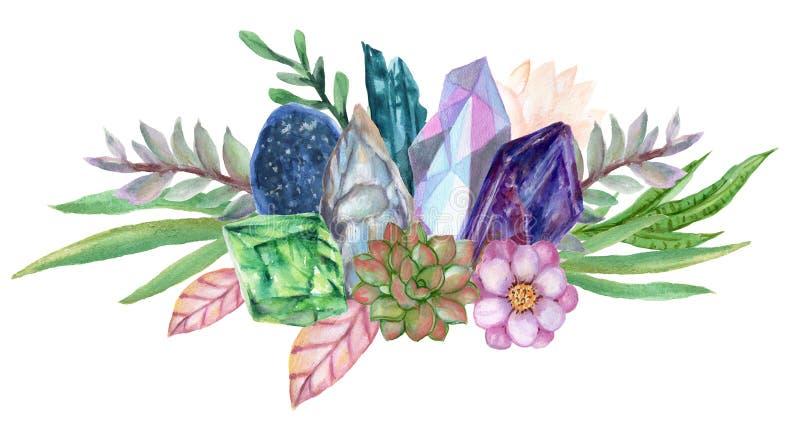 Waterverfgouache elegant uitstekend Crystal Stone en Halfedelstenen met bloem succulants en geschilderde de hand van de het boeke vector illustratie