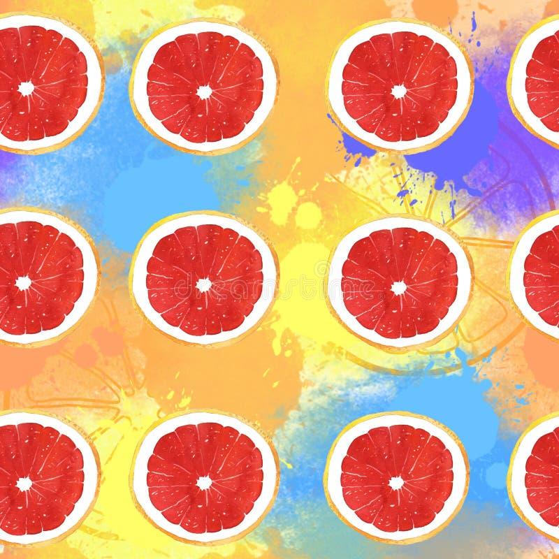 Waterverfgrapefruit en het heldere naadloze patroon van de vlekkenillustratie abstracte achtergrond vector illustratie