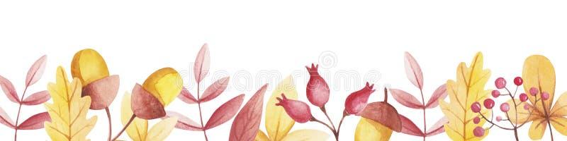 Waterverfgrens met exemplaarruimte van rozebottels en lijsterbes vector illustratie