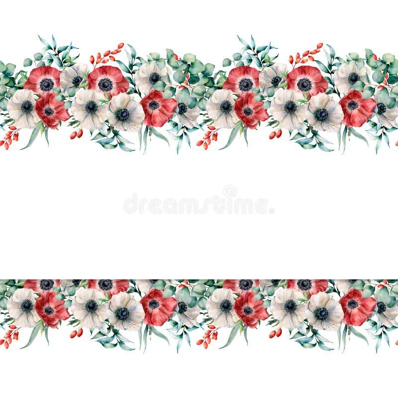 Waterverfgrens met rode en witte anemonen Gaat de hand geschilderde bloemen met eucalyptus weg en vertakt zich, bessen stock illustratie