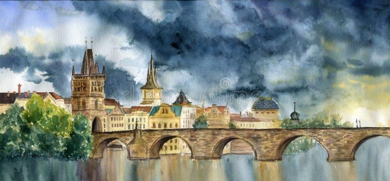 Waterverfhand die Praha en Karlov schilderen het meeste Illlustration met Toren en brug, mening van de stad stock illustratie