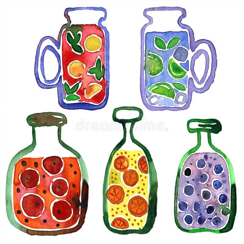 Waterverfhand geschilderde illustratie met glazen limonade en jampotten vector illustratie