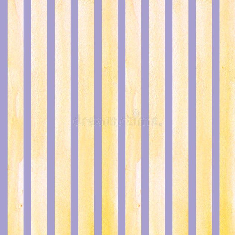 Waterverfhand geschilderde kwaststreken, lijn, banners, patroon Geïsoleerde gele strepen op purpere waterverf als achtergrond royalty-vrije illustratie