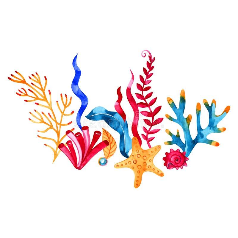 Waterverfhand geschilderde overzeese samenstelling Zeevaartachtergrond met uitstekende realistische elementen stock illustratie