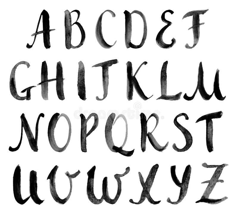 Waterverfhand getrokken alfabet, kapitalen royalty-vrije illustratie