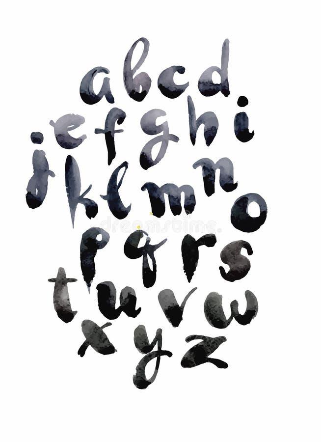 Waterverfhand getrokken alfabet Vector illustratie Borstel geschilderde brieven royalty-vrije illustratie