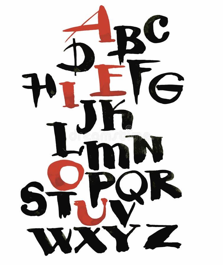 Waterverfhand getrokken alfabet Vector illustratie Borstel geschilderde brieven stock illustratie