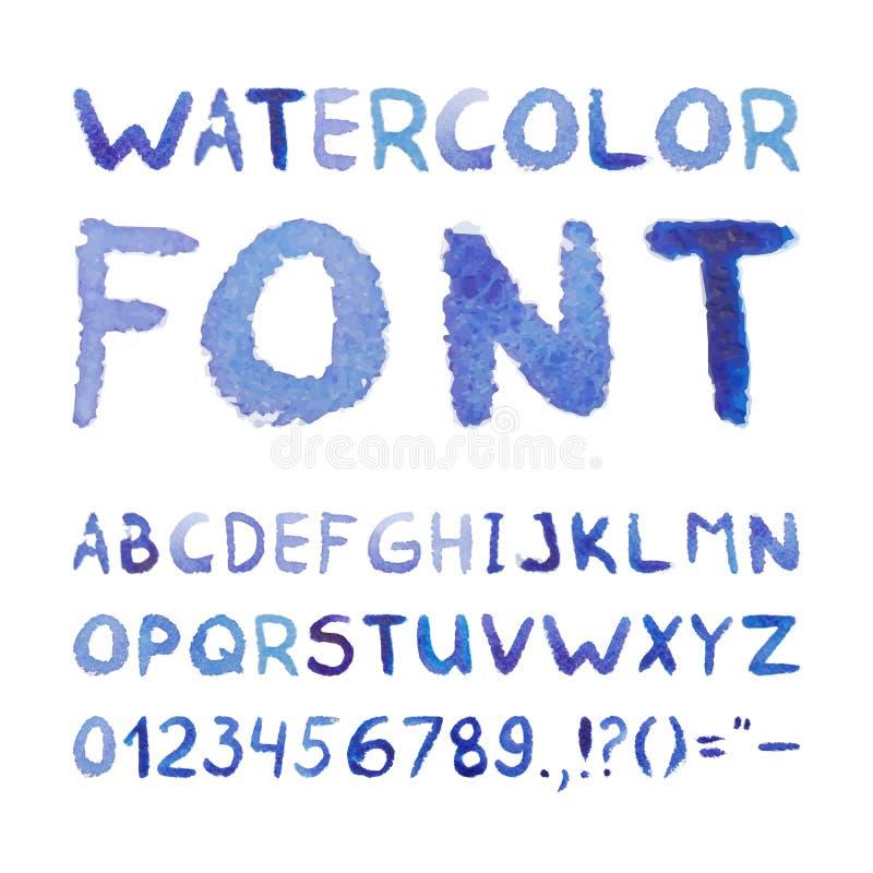 Waterverfhand Getrokken Blauwe Doopvont royalty-vrije illustratie
