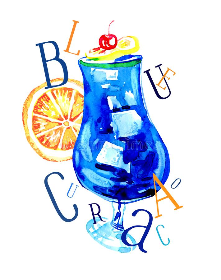 Waterverfhand getrokken expressieve illustratie met glas van blauwe curacao en brieven stock illustratie