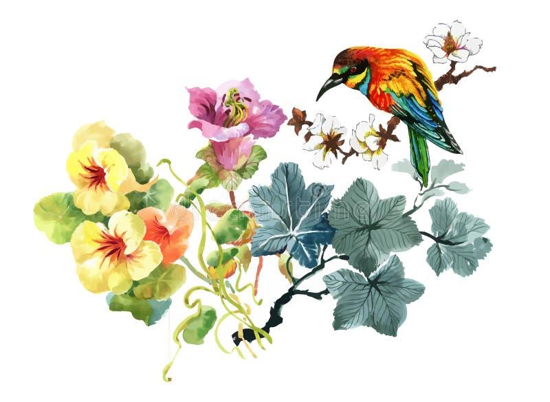 Waterverfhand getrokken naadloos patroon met mooie bloemen en kleurrijke vogels op witte achtergrond stock illustratie