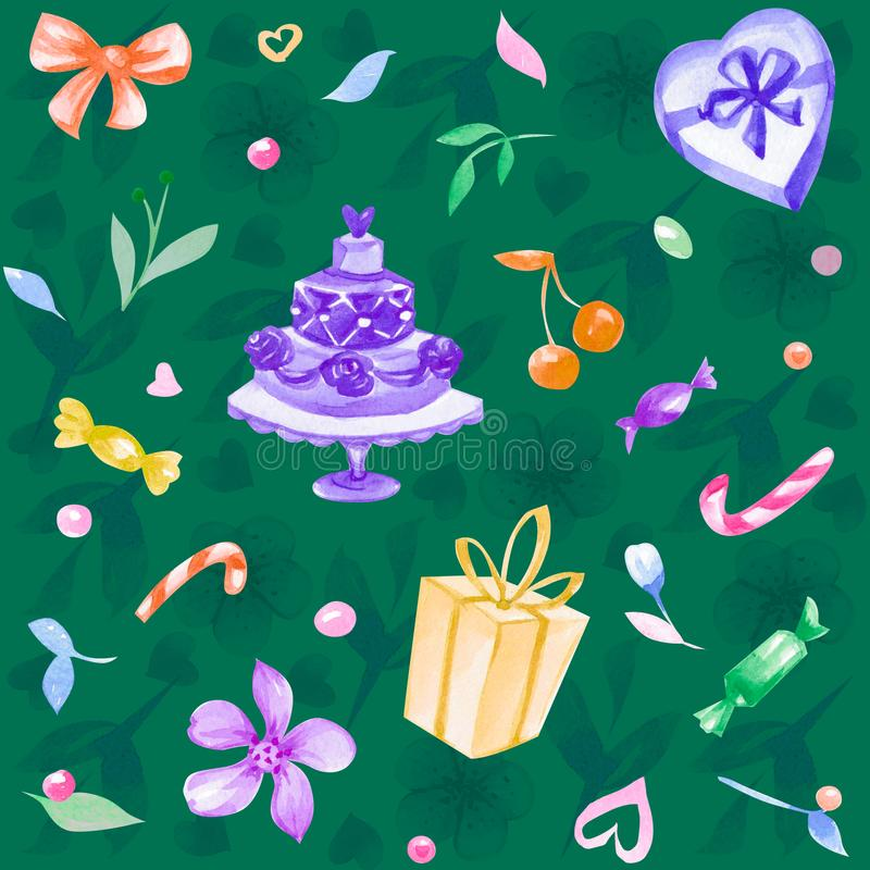 Waterverfhand getrokken naadloze illustratie met liefde, bloemen, candys, kers, harten, gift royalty-vrije stock afbeelding