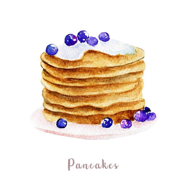 Waterverfhand getrokken pannekoeken dessertillustratie op witte achtergrond royalty-vrije illustratie
