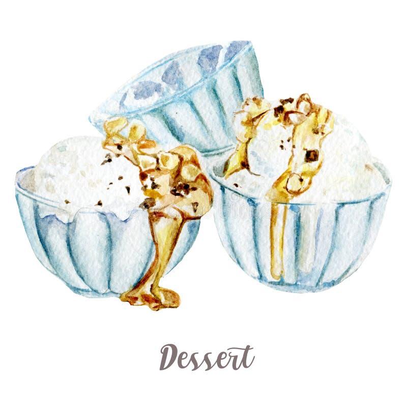 Waterverfhand getrokken roomijs Geïsoleerde dessertillustratie op witte achtergrond stock illustratie