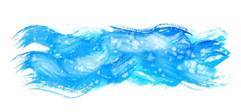 Waterverfhand het schilderen texturen Blauwe Vlekken, vlekdalingen, plonsen stock illustratie