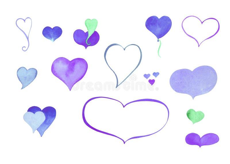 Waterverfhart clipart Blauw en purper die watercolourhart op wit wordt geïsoleerd vector illustratie