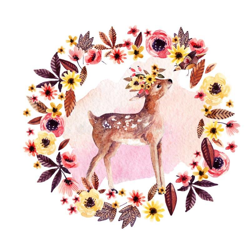 Waterverfherten fawn onder bloemen op witte achtergrond worden geïsoleerd die royalty-vrije illustratie