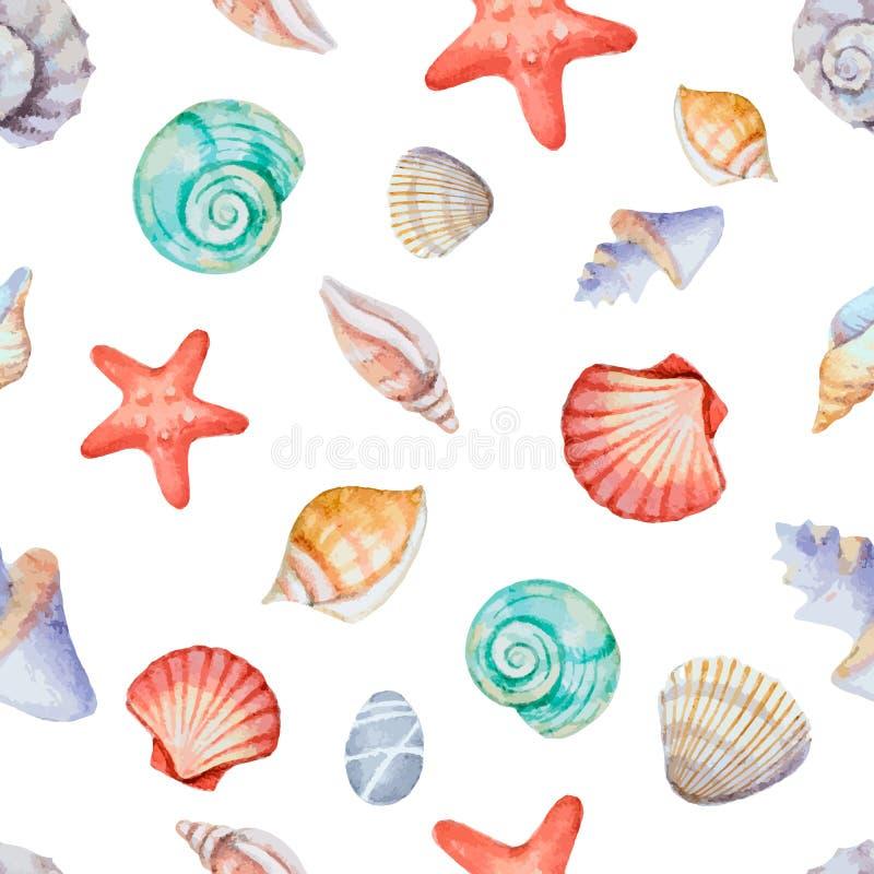 Waterverfhoeken van het kader met overzeese shells vector illustratie