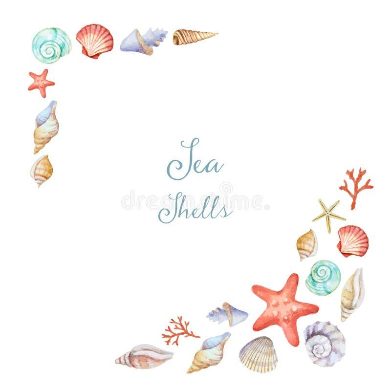 Waterverfhoeken van het kader met overzeese shells stock illustratie