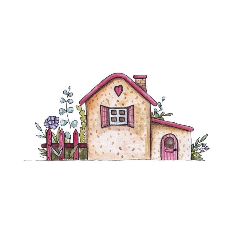 Waterverfhuis Hand-trek illustratie van een buitenhuis met een omheining royalty-vrije illustratie